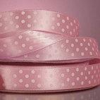"""Лента атласная в горошек, цвет - светло - розовый/белый, ширина-10 мм - Интернет-магазин  """"Чудо-Ларец """" ."""