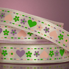 Лента атласная Hearts & Flowers Printed Ribbon, ширина - 15 мм