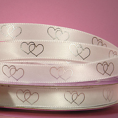 Лента атласная Crossed Hearts Printed Ribbon, ширина 10 мм