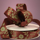Лента сатиновая Brown Satin Antique Floral Ribbon , ширина 22 мм