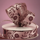 Лента сатиновая Mauve Satin Antique Floral Ribbon, ширина 22 мм