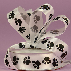 Лента сатиновая Black Paw Print White , ширина 15 мм
