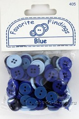 "Пуговицы ""Blue""Favorite Findings"",130 шт/уп-ке, 3 цвета, диаметр 10, 12 и 15 мм"