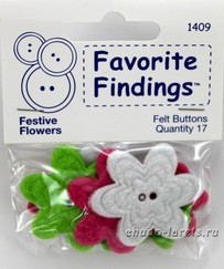 "Пуговицы из войлока""Favorite Findings Felt"" Festive Flowers"", цветы 17 шт"