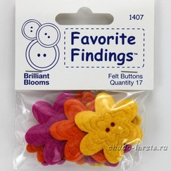"Пуговицы из войлока""Favorite Findings Felt""Brljant Blooms"" ромашки 17 шт"