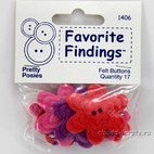 "Пуговицы из войлока""Favorite Findings Felt""Pretty Posies"",цветы 17шт"