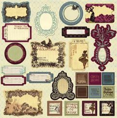 Чипборд - стикер  Chipboard Sticker Sheet ,Moulin Rouge, размер 30,5 х 30,5 см
