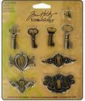Набор металлических украшений Tim Holtz Idea-ology Locket Keys 8шт, никель