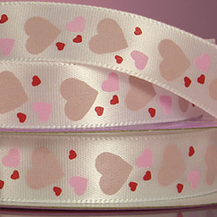 Лента сатиновая Hearts Printed Ribbon, ширина15 мм