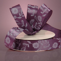 "Лента сатиновая Purple Satin Antique Floral Ribbon, ширина -22 мм ― Интернет-магазин ""Чудо-Ларец"""