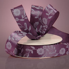 Лента сатиновая Purple Satin Antique Floral Ribbon, ширина -22 мм