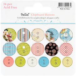 "Чипборд ""Пуговицы""Vintage Chic Chipboard Buttons, 16 шт/уп-ке, 20 и 25 мм"