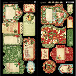 Вырубка 12 Days Of Christmas Cardstock Tags & Pockets, размер 15,0 х 30,5 см