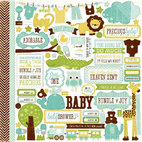 Кардсток - стикер Bundle Of Joy Boy Cardstock Stickers, размер 30,5 х 30,5 см
