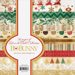 Набор бумаги Bo Bunny Silver & Gold Paper Pad - Single-Sided, 36 листов, 15 х 15 см