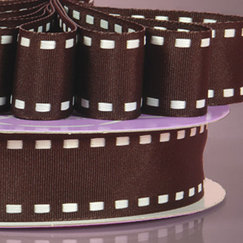 Лента сатиновая Chocolate Saddle Stitched Grosgrain Rbbn, ширина 25 мм