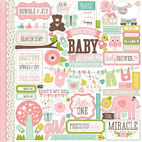 Кардсток - стикер Bundle Of Joy Girl Cardstock Stickers, размер 30,5 х 30,5 см